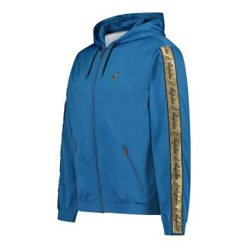 Australian jack with hood and gold stripe on the sleeves | teal blue