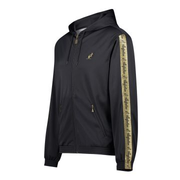 Australian vest with hood and gold stripe on the sleeves | black