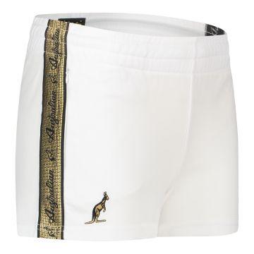 Australian ladies hot pants with gold stripe 2.0   white