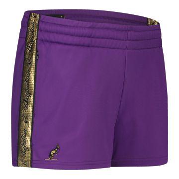 Australian ladies hot pants with gold stripe 2.0   purple