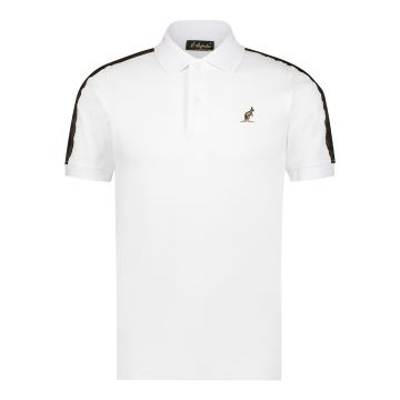 Australian polo slim fit with gold stripe 2.0 on the shoulders   white