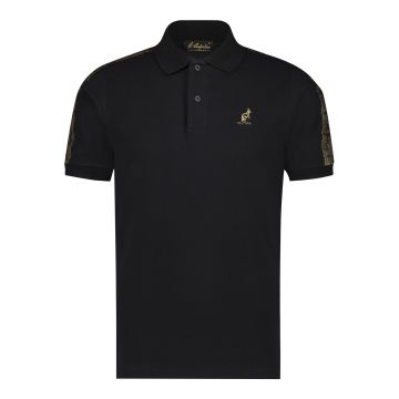 Australian polo slim fit with gold stripe 2.0 on the shoulders   black