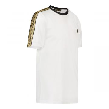 Australian T-shirt with gold stripe on shoulders | white