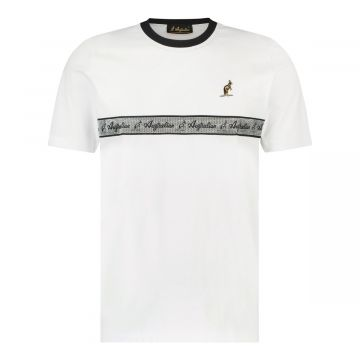 Australian T-shirt with silver stripe on the chest | white