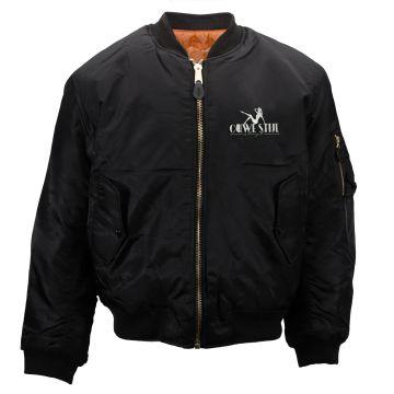 Ouwe stijl is boter geil Bomber jack  embroidered logo black