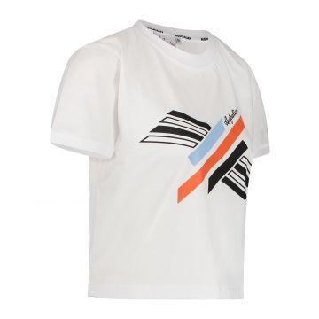 Australian sportswear dames T-shirt cropped met abstracte print | wit