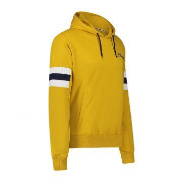Australian sportswear hooded sweater blue / white arm patches   mustard yellow