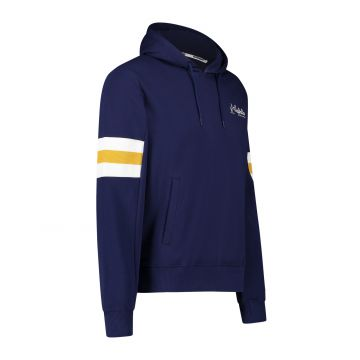 Australian sportswear hooded sweater yellow white arm patches   cosmo blue