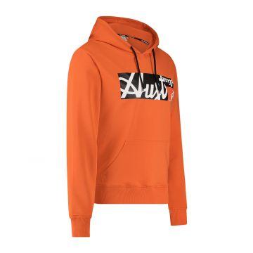 Australian Sportswear hooded sweater met rechthoek logo print op de voorkant   lava
