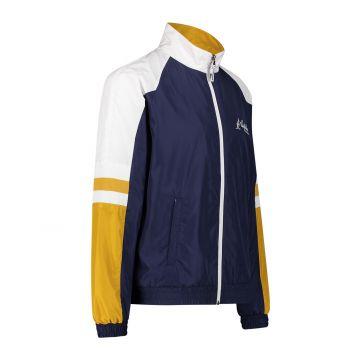 Australian sportswear track jacket yellow white sleeves   cosmo blue