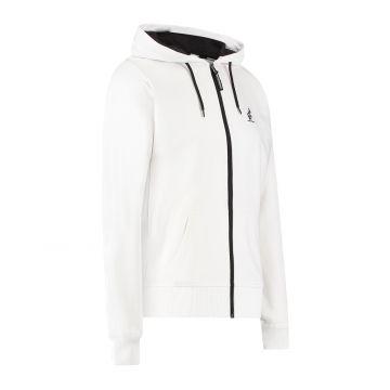 Australian sportswear zip hoodie abstract print from hood to back | white