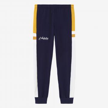 Australian sportswear track pants with yellow white stripe   cosmo blue