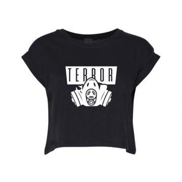 Hard-Wear Ladies Croptop Terror Gas Mask   black