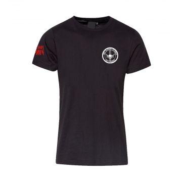 The Bloody Deamon vertical back logo   black