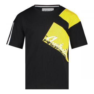 Australian kids T-shirt pinhole print   zwart - geel